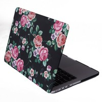 "HDE MacBook Pro 13"" Retina Case Hard Shell Cover Designer Pattern + Keyboard Skin - Fits 13.3"" Apple Mac (No CD Drive) Model A1425 / A1502 (Black Floral)"