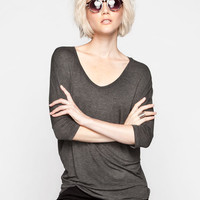 Full Tilt Essential Womens Elbow Sleeve V-Neck Tunic Charcoal  In Sizes