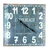 """""""Life is Good at the Beach"""" Weathered Plank Board Wall Clock - 13-1/4-in"""