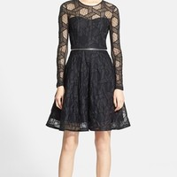 Women's Yigal Azrouël Zip Detail Embroidered Lace Fit & Flare