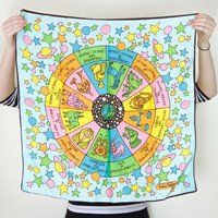 vintage astrology scarf / square silk zodiac scarf / satin hair scarf / 50s 60s peter max inspired scarf
