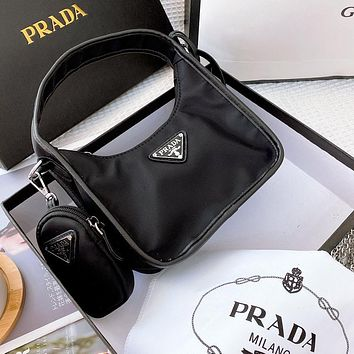 Onewel Prada da nylon bag gift box packaging comes with 2 shoulder straps black Armpit bag