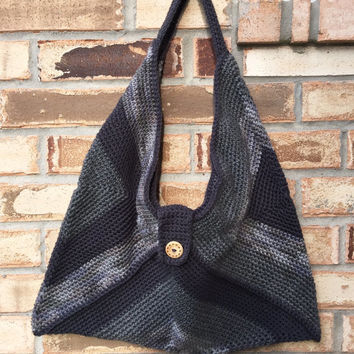 Large Crocheted Granny Square Bag in Three Tones of Gray, Fully Lined, Crochet Slouch Bag, College Book Bag, Shopper, Shoulder Bag, Bohochic