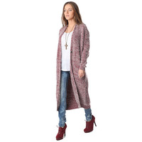 Marsala Speckled Knit Long Line Cardigan
