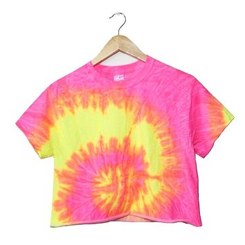 Tropical Neon Tie-Dye Cropped Unisex Tee
