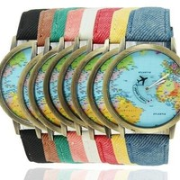2015 New Fashion Casual Watch Women Wristwatch Personality World Map Airplane Pattern Fabric Leather Quartz Watch Relogio Clock [8069817671]