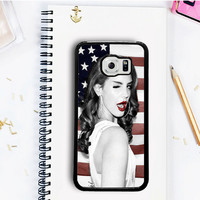 Lana del Rey Cute Pose and American Flag Samsung Galaxy S7  Case Dollarscase.com