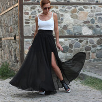 Long Skirt/Black Skirt/Maxi Skirt/Chiffon Skirt/High waisted Skirt/Maxi skirt with slit/Wedding Skirt by CARAMELfs SS11816