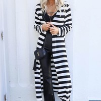 Looking Back Stripe Duster Cardigan