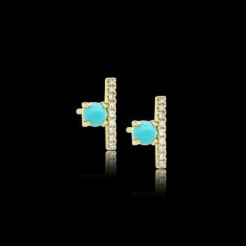 Ball and Bar Turquoise Stud Earring