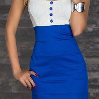 Blue Spaghetti Strap Button Designed Dress