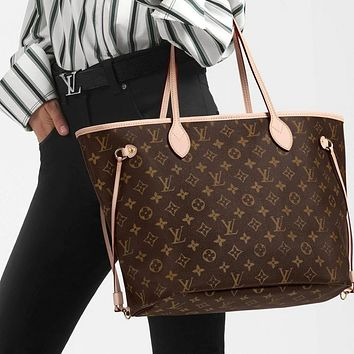 LV Louis Vuitton Neverfull GM Shopping Bag Handbag Shoulder Bag Two-Piece Set