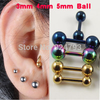 2 piece  Stainless Steel Tragus Earring Ball Barbell Ear Piercing  Black Silver Gold Cartilage Ring Jewelry For Men Women