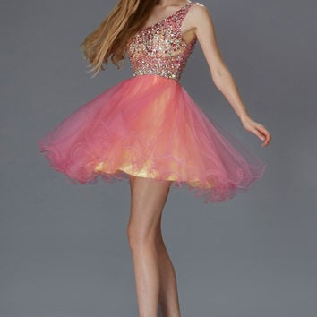 G2033 Jeweled One Shoulder Homecoming Cocktail Dress