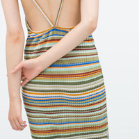 Striped dress with pleats