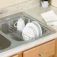 Chrome Sink Dish Rack Drainer Air Dry Free Up Counter Space Kitchen Decor New