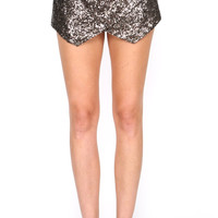 GOLD SEQUIN LEATHER WRAP SKORT