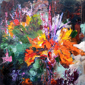 Impressionist Canna Flower Bold Palette Knife Oil Painting