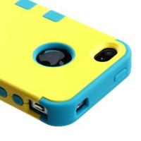 Armor Impact Defender Hybrid Double Case for Iphone 4 & 4s - Yellow Blue - In Package