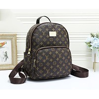 LV Louis Vuitton Fashion Woman Leather Daypack School Bag Shoulder Bag Backpack Coffee LV Print