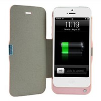 [Official Shop]BXT® 2600 mAh for iPhone 5 External Rechargeable Spare Backup Extended Battery Charger CaseGenuine Leather Folded Two High Capacity Power Bank Pack Portable External Battery Charger for iPhone 5 (2600MAH-PINK)
