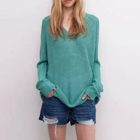 Deep V-Neck Knitted Long Sleeve Sweater