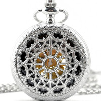 1pcs/ 45mm ,Retro Steampunk Mechanical Silver White spider-web Hollow pocket watch Necklace Chain,Necklace Pendant,craft supply BM-72