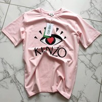 KENZO 2019 new eye print cotton men and women T-shirt