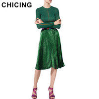 CHICING Women Pleated Skirts 2016 Bling Bling Glitter Gold Flared High Waist Tutu Party Ladies Spring Summer Midi Skirt A1601018