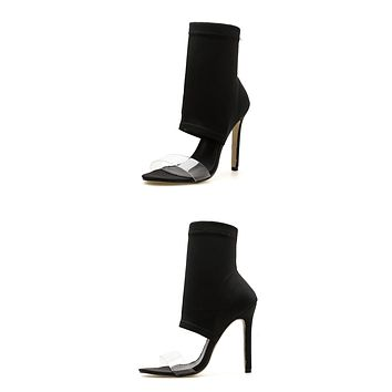 New Stretch Fabric  Peep Toe Boots Sandals