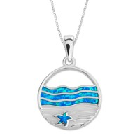 "Sterling Silver Blue opal Starfish on Sand Circle Pendant with 18"" Chain"