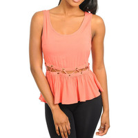Cut-Out  Peplum Top in Coral