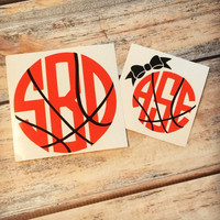 Basketball Monogram Sticker or Decal or Basketball Bow Monogram Sticker - For Laptop, Car, Notebook, phone, iPhone, etc.