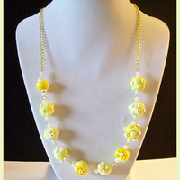 "Necklace Yellow Flowers Applique Swarovski Crystals Handcrafted Polymer Clay 20"" Spring Summer Pastel Jewelry Floral Yellow White Flowers"