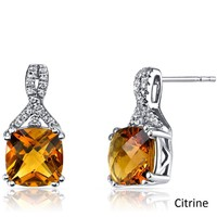 2.00 CT Cushion Cut Citrine Stud Earring in 18K White Gold Plated