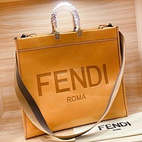 Fendi New Fashion Letter Print Leather Shoulder Bag Crossbody Bag Handbag Brown