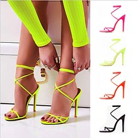 Fashion Candy colorsBright colorToeLace upHigh heels women shoes Floursparent green