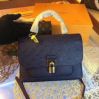 LV Louis Vuitton Newest Popular Women Leather Handbag Tote Crossbody Shoulder Bag Satchel  28CM