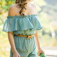 Willow Teal Off the Shoulder Romper