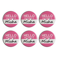 Misha Hello My Name Is Plastic Resin Button Set of 6