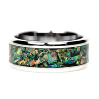 Stainless Steel Polished With Opal Inlay 8mm Men's Ring