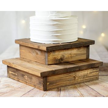 "10-12"" Wood cake stand set, rustic wedding decor"