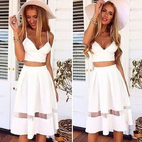 Changeshopping girl Two Piece Crop Top Midi Skirt Set