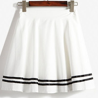 White High Waist Striped A-Line Mini Skater Skirt