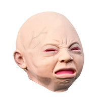 2015 trendy Genuine  Latex Scary mask Costume Halloween Creepy Cry Baby Full Head Face Latex Mask Free Shipping