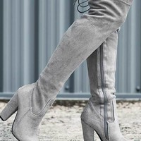 OSCA Lace Up Stretch Block Heel Over Knee Tall Boots - Grey Suede Style by Spy Love Buy