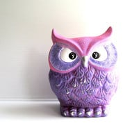 OWL Purple and hot pink Hand Painted Owl Coin Blank Trendy owl bank