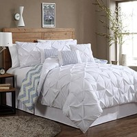 Geneva Home Fashion 7-Piece Ella Pinch Pleat Comforter Set, Queen, White