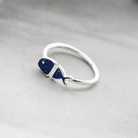 100%【Sterling silver】unique hand-painted cute dreamy mini blue fish adjustable ring, holiday stacking ring, gifts for her, silver jewelry
