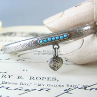 LOVELY antique Victorian heart dangle with turquoise etched silver bracelet, bangle, cuff perfect wedding jewellery.